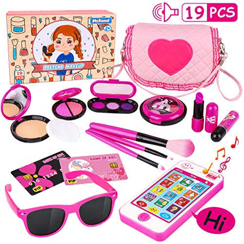 Cute Minnie Mouse Halloween Makeup (Kids Makeup Kit - Girl Pretend Play Makeup & My First Purse Toy for Toddler Gifts Including Pink Princess Purse, Smartphone, Sunglasses, Credit Card, Lipstick, Brush, Lights Up & Make)