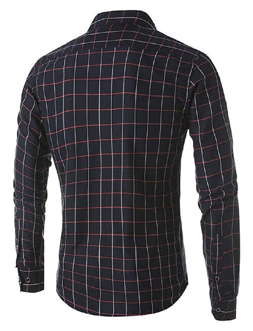 Gnao Mens Hipster Plaid Work Long Sleeve Print Regular Fit Button Down Leisure Shirts