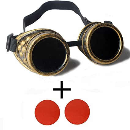 ab7df8642a69 Image Unavailable. Image not available for. Color  Focussexy Rave Steampunk  Goggles Vintage Glasses Gothicism Retro Lenses Style for Cosplay Halloween