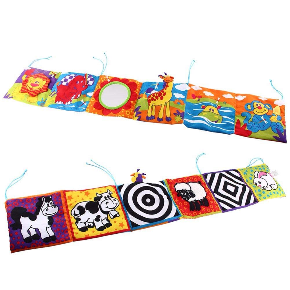 Spielzeug kontrastreiche Entwicklungspuzzle Zoo Stoff Buch Spielzeug Kinderbett Stoffbuch f/ür Babybett