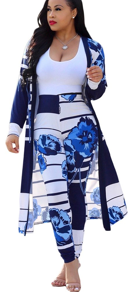 Mintsnow Womens Open Front Cardigan Outerwear Jacket and Pants 2 Piece Outfit Blue 2XL