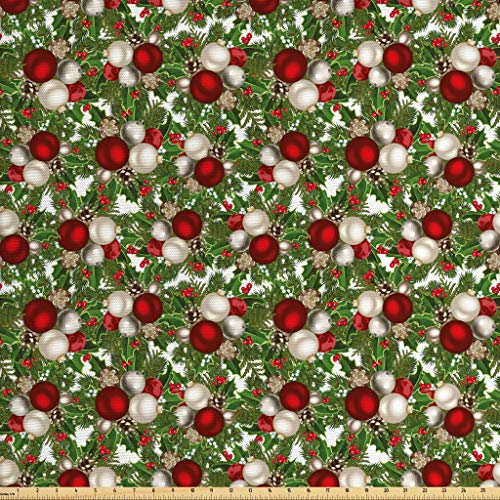 Ambesonne Christmas Fabric The Yard, Pine Fir Cones Balls Coniferous Tree Leaves Holly Berry Old Fashioned, Decorative Fabric Upholstery Home Accents, 3 Yards, Red Green Silver