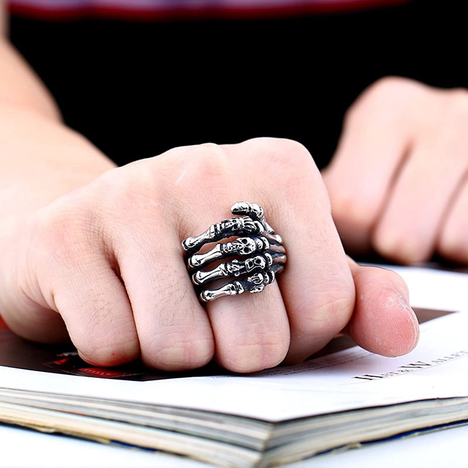 Men\'s Vintage Rock Punk Stainless Steel Gothic Ring Band Silver Tone ...
