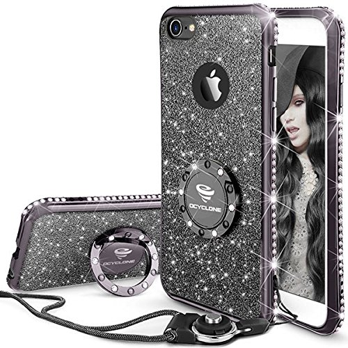 iPhone 6s Plus Case, Glitter Cute Phone Case Girls with Kickstand Bling Diamond Rhinestone Bumper Ring Stand Thin Soft Protective Sparkly Apple iPhone 6 Plus, 6s Plus Case for Girl Women - Mauve Black
