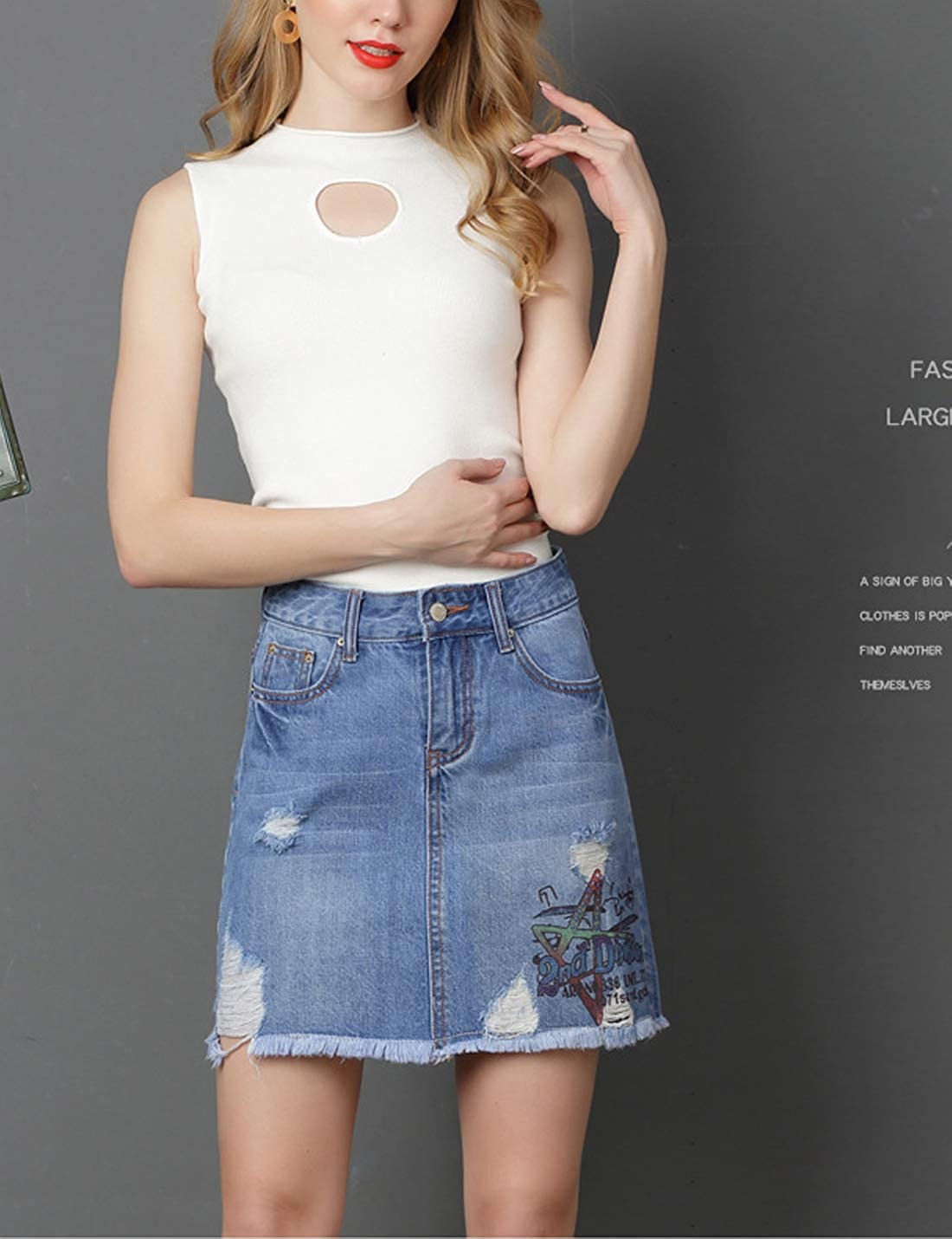 e70d13fc4d Yeokou Women's Casual Slim A-line Pleated Ruffle Short Mini Denim Skirts
