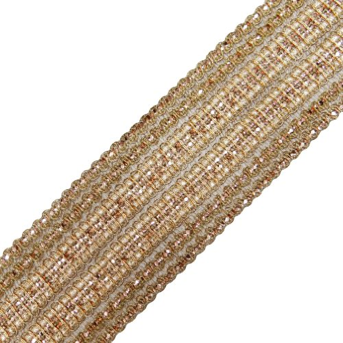 (Crafting Peach Trim Ribbon Sewing Border Tape Braided Sequin Lace India 1 Yard )