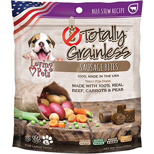 Loving Pets Totally Grainless Beef Stew Recipe Sausage Bites For Dogs (1 Pack), 6 Oz