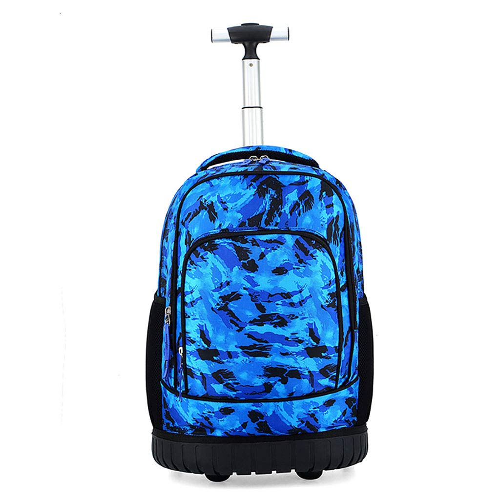 学校のラップトップバッグを旅する少年のためのトロリーバックパック大容量ストレージウィールドローリングバックパック防水旅の荷物   B07NMX7R7L