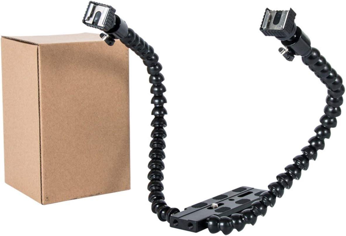 Universal Dual Twin Arm Flexible Camera Flash Bracket Mount Holder Aluminum Alloy Adjustble Flash Bracket