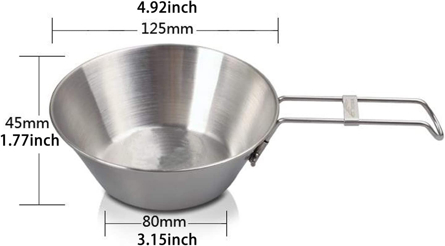 Top Dia:4.9 Hiking Picnic Sierra Cup for Outdoor BBQ EASY BIG Foldable Stainless Steel Camping Bowls Camping