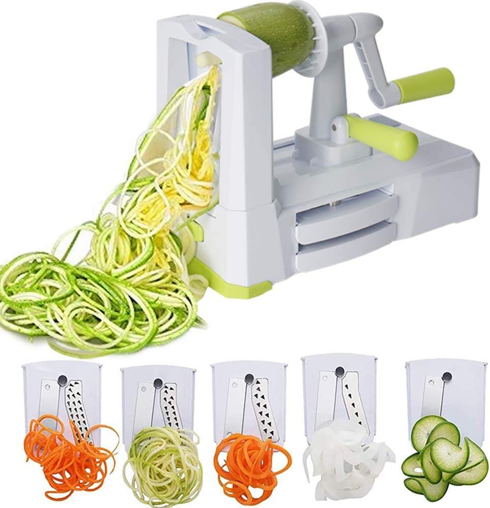 Vegetable Spiralizer Vegetable Slicer with 5 Blades, Zucchini Spaghetti Maker Zoodle Maker Veggie Pasta Maker, Strongest and Heaviest Duty Mandoline Slicer