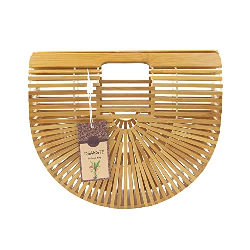 Women's Top Handle Bamboo Handbag Summer Beach Tote Bag (Small)