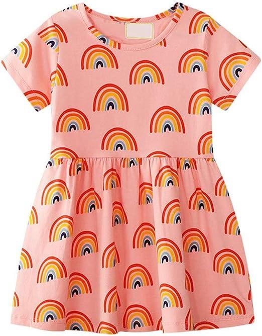 Vestido de verano lindo de las niñas Vestido de camiseta de algodón para niñas pequeñas Bebé
