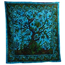 Beadspread Tree of Life Coverlet Turquoise Blue Oriental India Decor Cotton W...