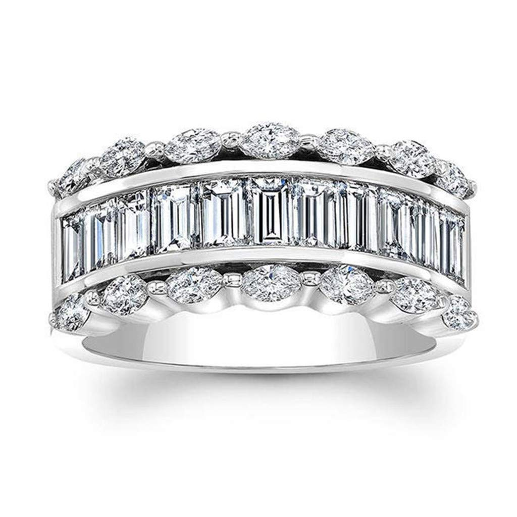 Sterling Silver Diamond Band Ring Haluoo Fashion Diamond Cylindrical Rings Fashion Cubic Zirconia Baguette Ring Fashion Chunky Statement Engagement Ring Finger Rings Costume Jewelry