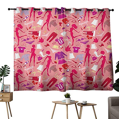 Mannwarehouse Heels and Dresses Breathable Curtain Girl Silhouettes Glamor Clothes Purses Underwear Pattern in Pink Tones Set of Two Panels 63