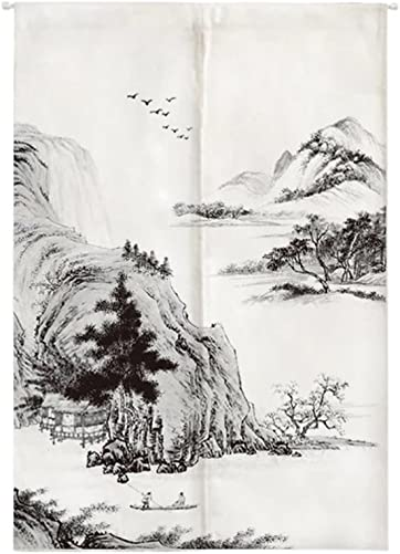 Oncefirst Curtain for Door Japanese Noren Linen Doorway Curtain with Tension Rod Far Mountain and Boat 35.5 X59.1
