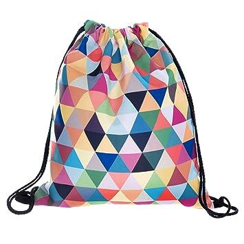 Bolsa con cordón para niños, niñas y adolescentes, con estampado completo. Bolsa plegable de nailon, para la escuela, viajes, hogar, deportes, Aztec ...