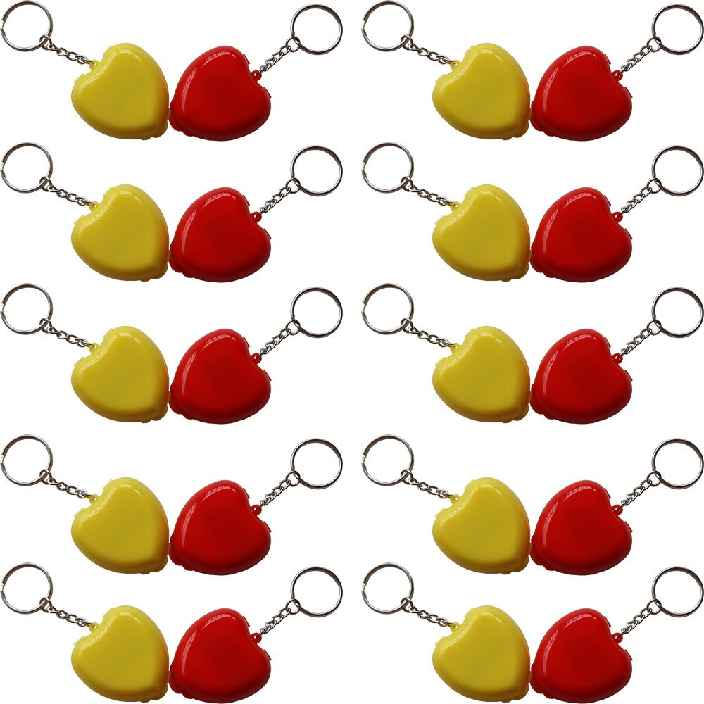 50pcs/ CPR MASK WITH KEYCHAIN CPR FACE SHIELD AED IN MINI HEART BOX YELLOW & RED