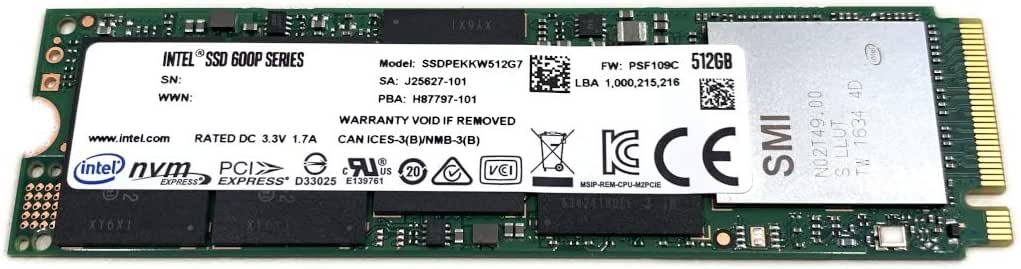 Intel SSD 512GB 600P M.2 2280 PCIe Gen3 x4 NVMe 3D TLC NAND SSDPEKKW512G7X1 SSDPEKKW512G7 Compatible with Dell HP Lenovo Acer Asus Other Systems