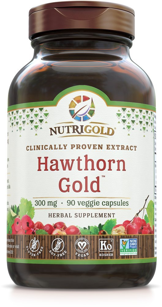 Nutrigold Hawthorn Gold (Clinically-Proven Extract), 300 mg, 90 Veggie Capsules.