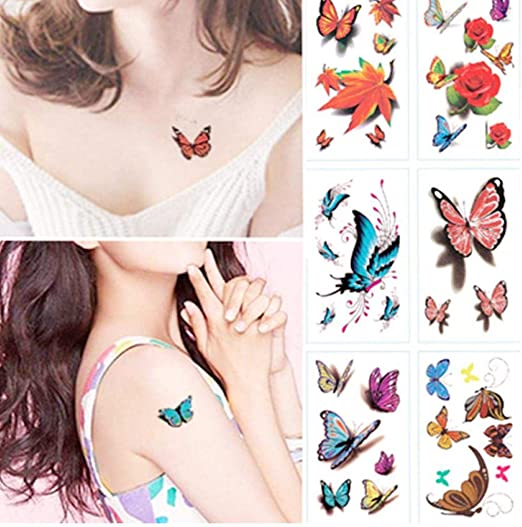Zonster Sticker Caliente Acuarela 3D Mariposa Tatuaje Temporal a ...