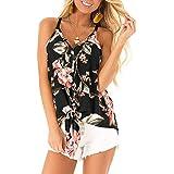 Berryou Women Summer Sleeveless V Neck Boho Floral Printed Tank Tops Double Spaghetti Strap Tunic Tops Tank Shirts