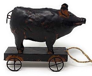 STC World Standing Metal Figurines Farmhouse Decor Rustic Farm Animal Sculpture on Wheels Indoor Outdoor (Pig)