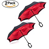 Tooge Upside Down Umbrella Windproof by, Double Layer Inverted Umbrella Waterproof for Car Rain Outdoor with C-Shaped Handle