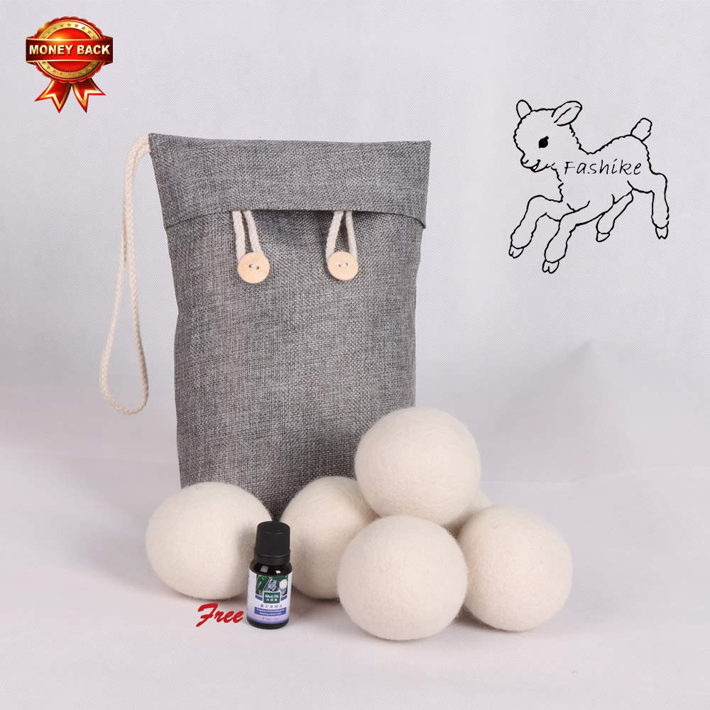 Organic Wool Dryer Balls (Pack of 6) Organic Reusable 3000+, Three Wool Dryer Balls Can Meet of Medium Sized Families Drying Clothes. Extend Clothing Life, No Hair Removal. (Free Essential Oils)