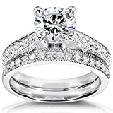 Round Moissanite & Diamond Bridal Set 1 1/3 Carat (ctw) in 14k White Gold