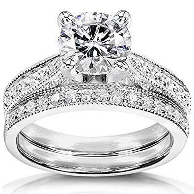 Moissanite Wedding Sets | Amazon Com Forever One D F Moissanite Bridal Set With Diamond 1 1