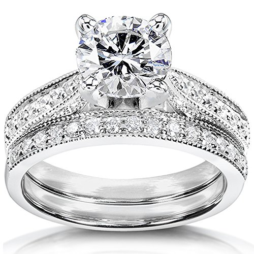 Forever One Colorless (D-F) Moissanite Bridal Set With Diamond 1 1/3 CTW 14k White Gold