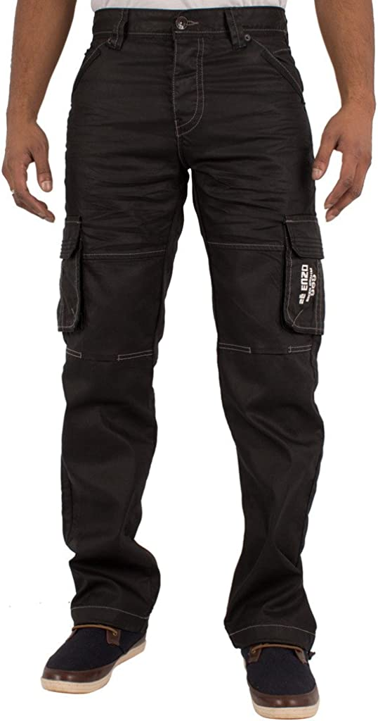 Pantaloni in Denim da Uomo Stile Cargo Enzo