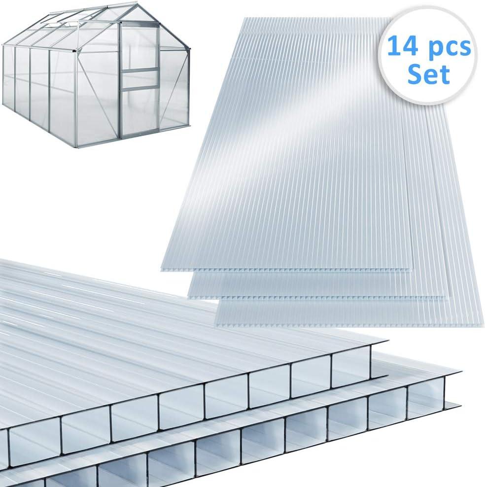 Deuba Placas de policarbonato 14 paneles 60, 5x121cm 10, 25m² ...