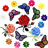 #10: SATINIOR 20 Pieces Embroidery Applique Patches Rose Butterfly Flowers Pattern Iron on Patches for Jeans Jackets Clothing Scrapbooking Art Craft