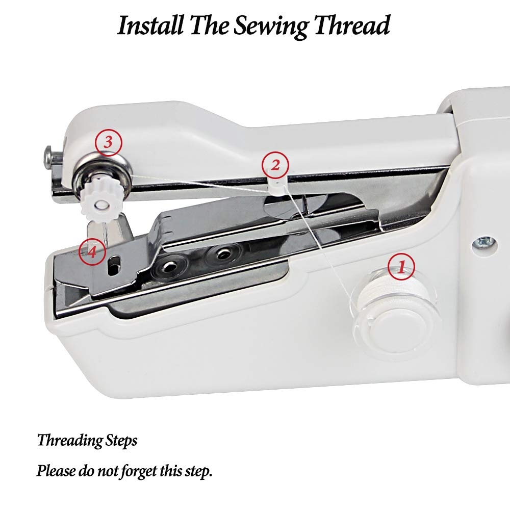 Powered by 4 AA Batteries Not Included GOLRISEN Manual Sewing Machine Portable Hand Sewing with 3 Roll of White Thread and Accessories Handheld Stitch for Sewing Clothing and Pants Hem