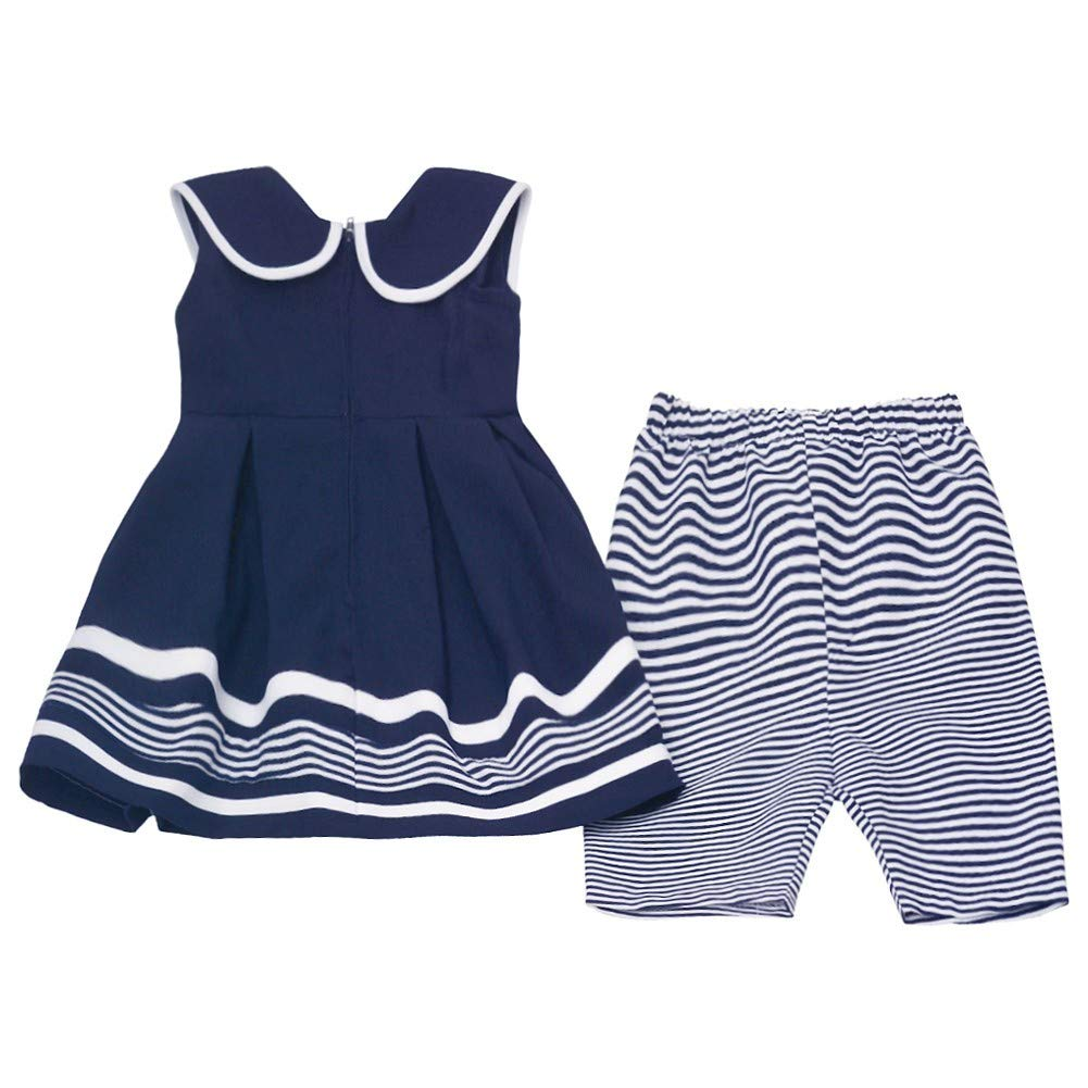 Bonnie Jean Little Girls Navy White Stripe Ribbon Sailor 2 Pc Pants Outfit 2-4T