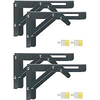 Pxyelec 4 stks Vouwen Plank Beugel 8 inch, Heavy Duty RVS Wandplank Ondersteuning Beugel voor Ruimtebesparende DIY…