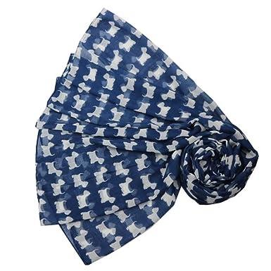 Foulard pour femme Bleu motif westies blancs  Amazon.fr  Vêtements ... 7a88388acbd