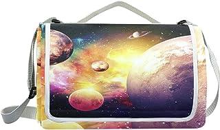jeansame Stars Galaxy Planets Nebula Universe Space Picnic Mat Coperta da Picnic, da Campeggio per Outdoor Viaggio Yoga Escursionismo Impermeabile Portatile Pieghevole 150x 145cm