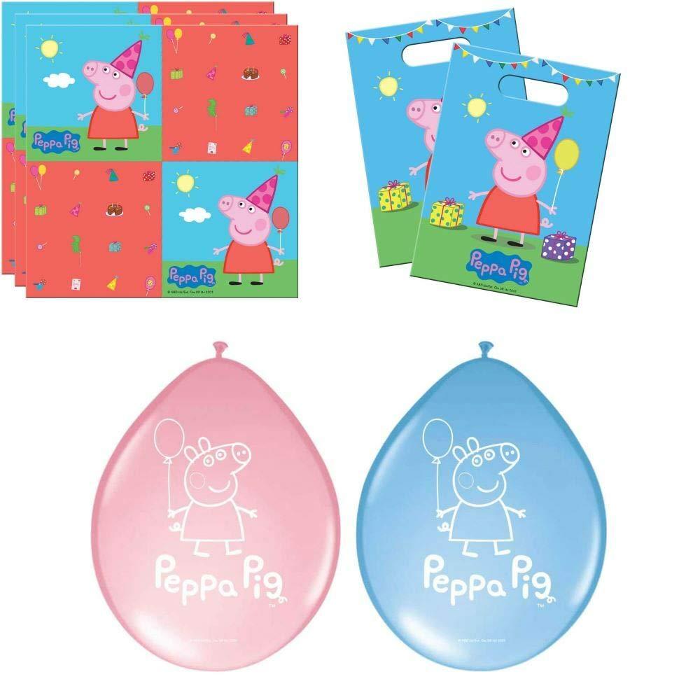 Folat Servietten Set Peppa Pig 20 Servietten, Luftballons /& T/üten