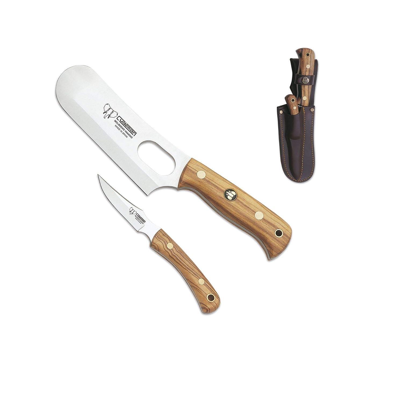Cudeman Set de Cuchillos 161-L Macheta y desollador Acero MoVa 1.4116 de 15 y 8 cm y empu/ñadura de Olivo de 12 y 9 cm para Caza Portabotellas Regalo Supervivencia y bushcraft Pesca