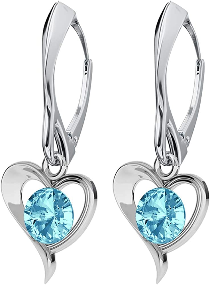 Beforya Paris Pendientes de plata 925 con corazón de amor, aguamarina, con cristales de Swarovski Elements, bonitos pendientes de plata para mujer, joyas con caja de regalo PIN/75