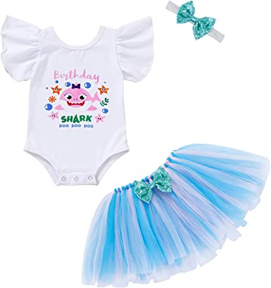 Baby Girls Birthday Shark and Doo Doo Doo Romper Tutu Dress 1st Birthday Outfit Set