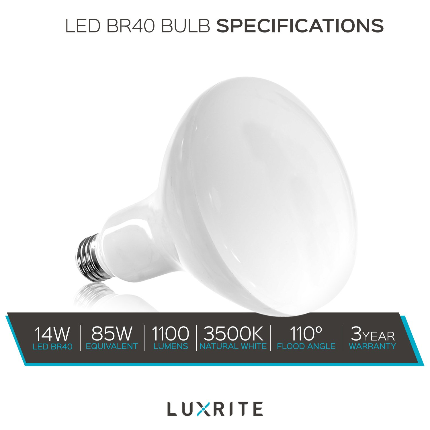 Luxrite BR40 LED Light Bulbs, 85W Equivalent, 3500K Natural White, Dimmable, 1100 Lumen, LED Flood Light Bulb, 14W, E26 Medium Base, Indoor/Outdoor - Perfect for Office and Recessed Lighting (12 Pack) by Luxrite (Image #8)