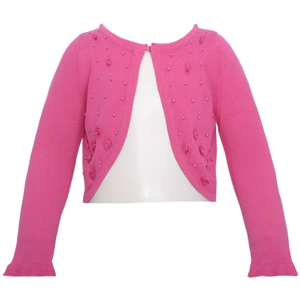 Bonnie Jean Fuchsia Beaded Rosette Shrug Little Girls 5