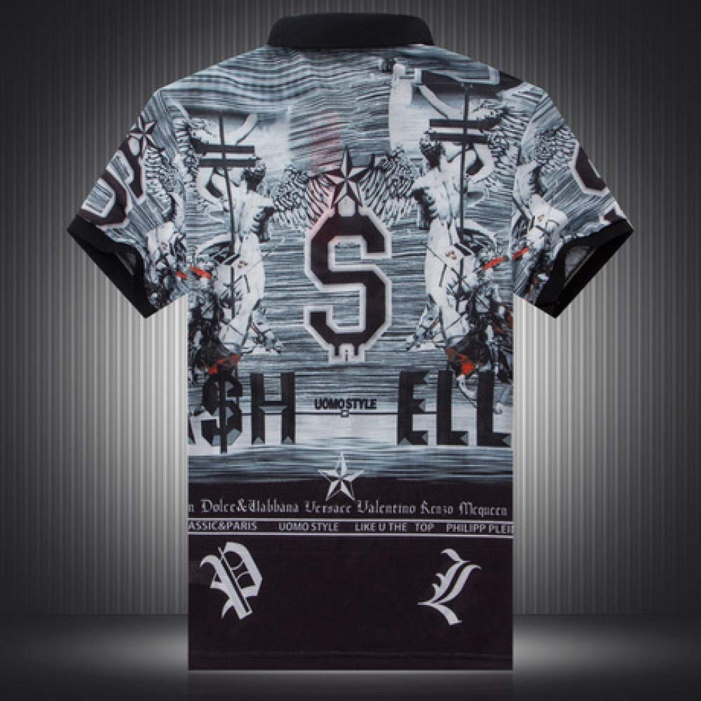 CZPF Short-Sleeved T-Shirt Personality Funny Character Statue Digital Printing Lapel Half-Sleeved Shirt