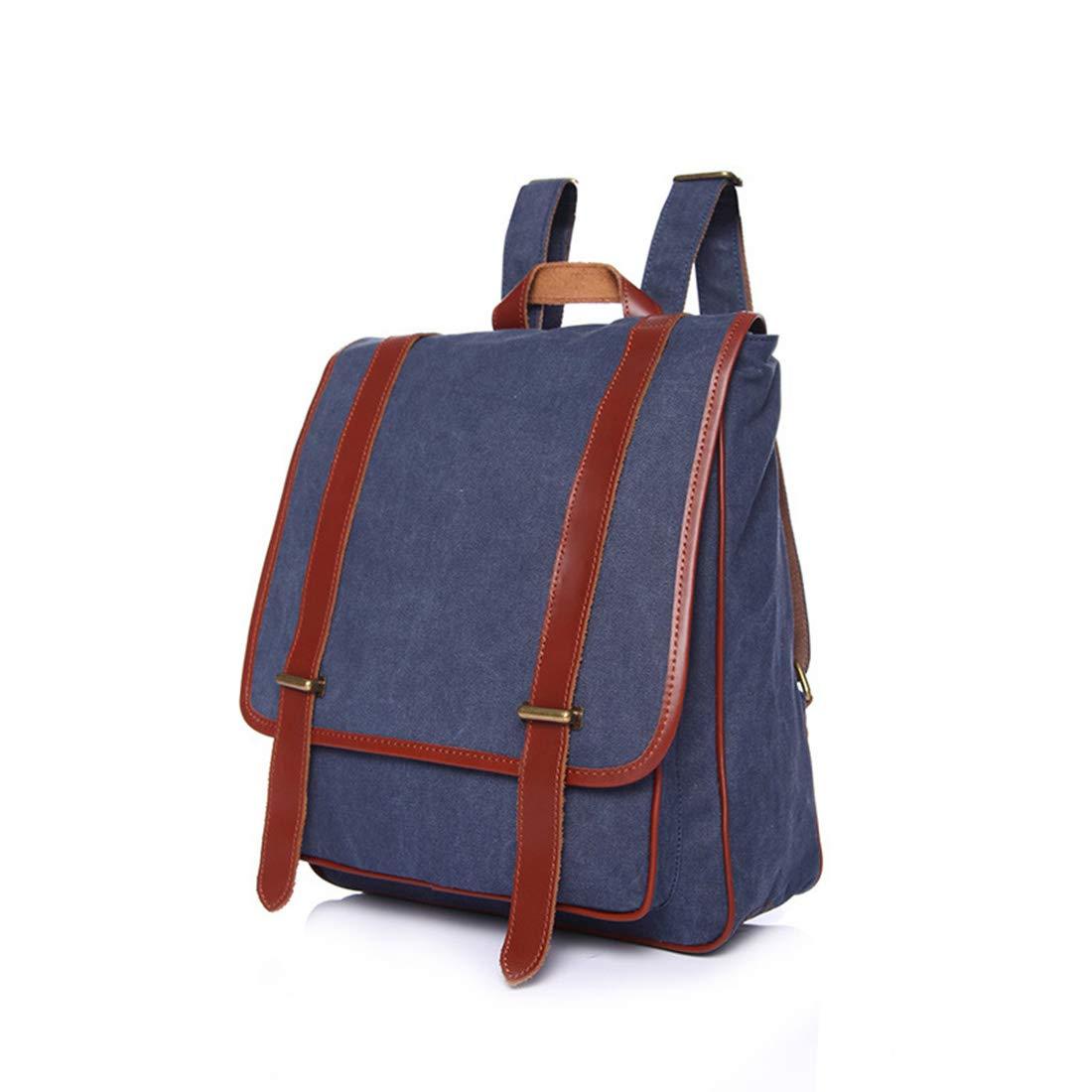 Ryggsäck för kvinnor ryggsäck vattentät vintage dragkedja kanvas vandring student utomhus shopping ryggsäck (färg: Marinblå) marinblå