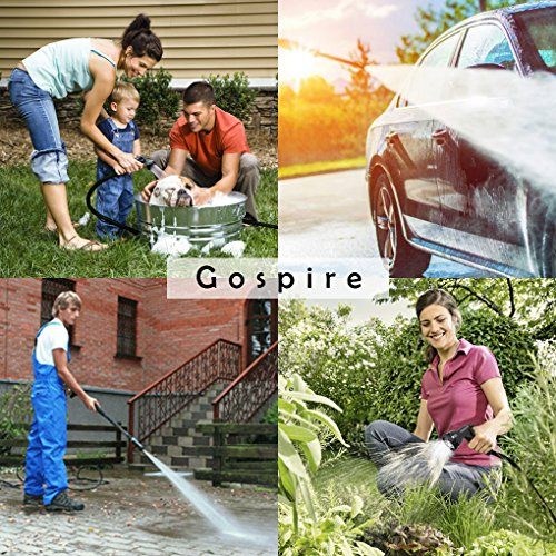 Gospire 100ft Expandable Garden Hose - Strongest Flexible Water Hose with Triple Latex Core+On/Off Valve+3/4 Connectors+8 Pattern Spray and Storage Sack - Doesn't Leak & Kink, Extra Strength Fabric